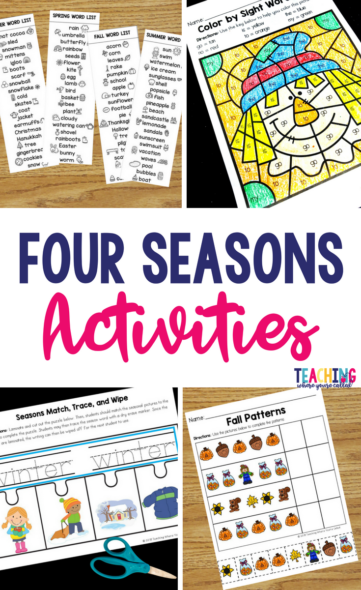 Four Seasons Activities For Prek And Kindergarten Teaching Where