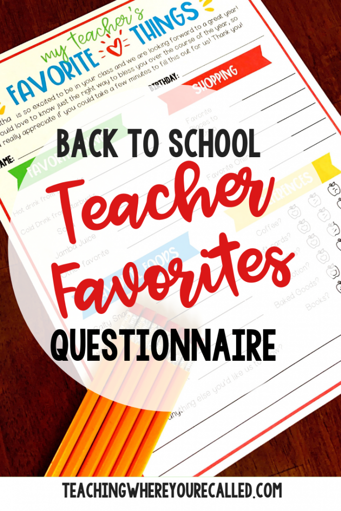 Know exactly what to get your child's teacher with this easy to use Teacher Favorite Questionnaire. This FREE survey will help you know all about their favorite thing so you know just what to get them for teacher gifts. It especially comes in handy with Back to School, holidays, and Teacher Appreciation week. AND, it's editable, so you can customize it just for your child's teacher! #teacherappreciation #teachergifts #teacherfavorites