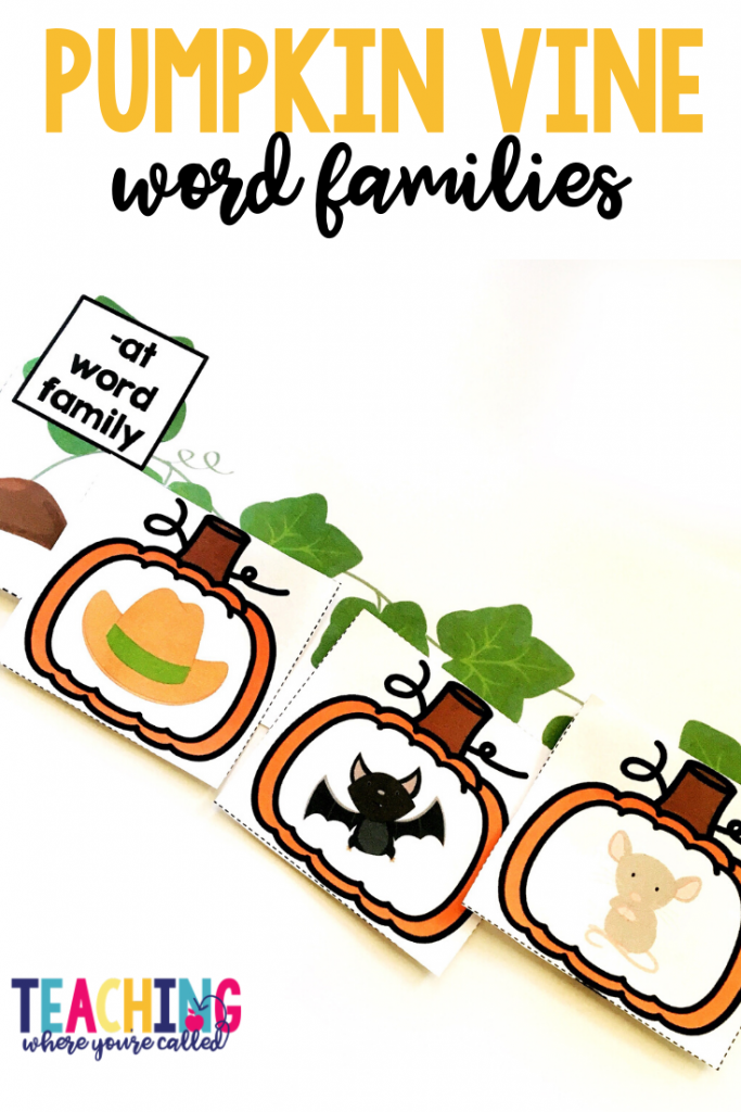 These pumpkin vine word families are a fun and festive way to review CVC words.  Help your pre-K, kindergarten, and 1st grade students engage in Math and Literacy activities with these October themed printables. Work on beginning sounds, word families, non-standard measurement, sums of 10, and more! These centers and worksheets are perfect for math and literacy centers, small groups, and more!!