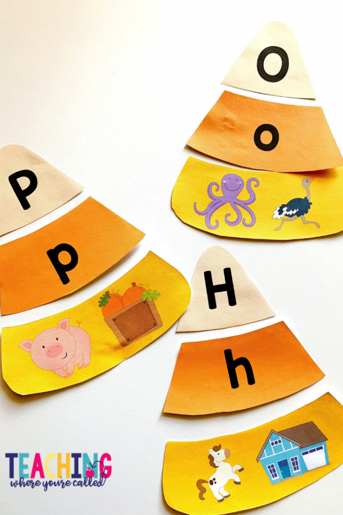 These candy corn alphabet puzzles are a great way to review capital and lowercase letters.  Help your pre-K, kindergarten, and 1st grade students engage in Math and Literacy activities with these October themed printables. Work on beginning sounds, word families, non-standard measurement, sums of 10, and more! These centers and worksheets are perfect for math and literacy centers, small groups, and more!!