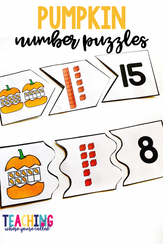 These pumpkin number puzzles are a fun way to practice recognizing different representations of numbers.  Help your pre-K, kindergarten, and 1st grade students engage in Math and Literacy activities with these October themed printables. Work on beginning sounds, word families, non-standard measurement, sums of 10, and more! These centers and worksheets are perfect for math and literacy centers, small groups, and more!!