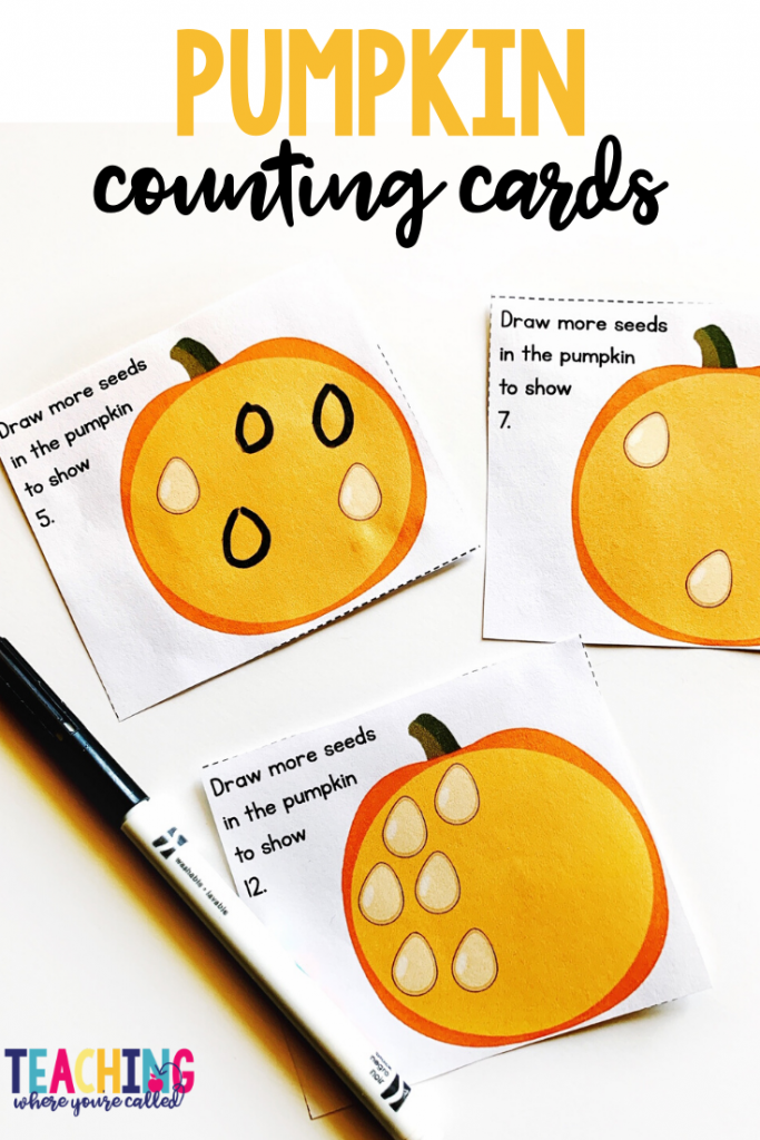 Practice counting on with these pumpkin seed counting cards Help your pre-K, kindergarten, and 1st grade students engage in Math and Literacy activities with these October themed printables. Work on beginning sounds, word families, non-standard measurement, sums of 10, and more! These centers and worksheets are perfect for math and literacy centers, small groups, and more!!
