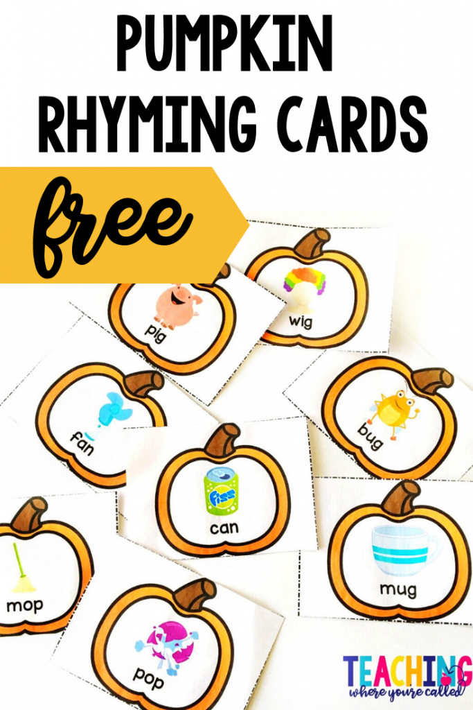 Have fun practicing rhyming skills with these FREE pumpkin rhyming cards. Use them to play a matching game, in a sensory bin, as a fun way to find partners, and more! It's a perfect October literacy center activity for preschool or kindergarten. #pumpkinfreebie #rhymingcards #pumpkinactivities