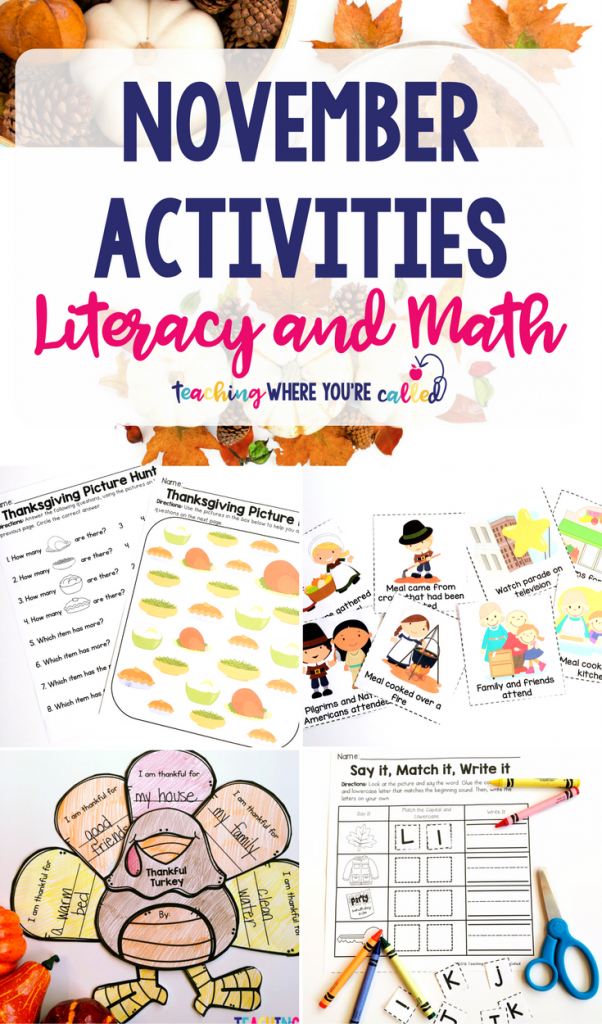 This activity packet provides fun and engaging math and literacy activities for your preschool, prek, or T-K students. These worksheets also work great as review or independent centers for kindergarten. These printables are November themed, so several Thanksgiving pages are included. These activities are perfect for centers, morning work, small group, review, or even homework. #novembercenters #novemberactivities #fallcenters #kindergartencenters