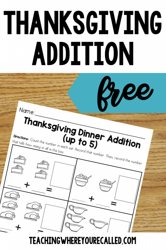 FREE Thanksgiving Dinner Addition.  Looking for some fun and festive Thanksgiving printables that will keep your students learning during the holiday season? This set of Thanksgiving freebies is just for you! It includes the following three activities: How to Cook a Turkey Sequencing, Thanksgiving Dinner Addition (up to 5), Thanksgiving Color by Sum. They're perfect for kindergarten or first grade. Use them as centers, independent work, or early finisher activities! And best of all, they're FREE! #thanksgivingfreebies #thanksgiving #thanksgvingprintables