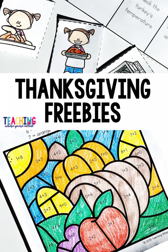 Looking for some fun and festive Thanksgiving printables that will keep your students learning during the holiday season? This set of Thanksgiving freebies is just for you! It includes the following three activities: How to Cook a Turkey Sequencing, Thanksgiving Dinner Addition (up to 5), Thanksgiving Color by Sum. They're perfect for kindergarten or first grade. Use them as centers, independent work, or early finisher activities! And best of all, they're FREE! #thanksgivingfreebies #thanksgiving #thanksgvingprintables