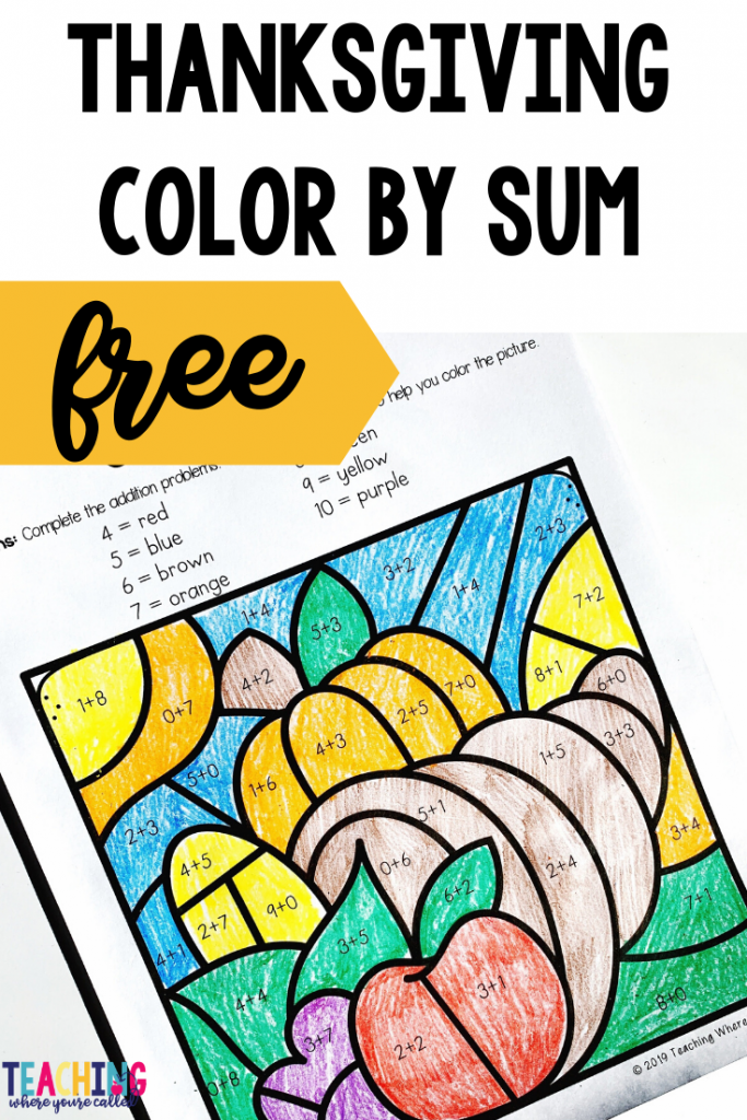 FREE Thanksgiving Color by Sum Looking for some fun and festive Thanksgiving printables that will keep your students learning during the holiday season? This set of Thanksgiving freebies is just for you! It includes the following three activities: How to Cook a Turkey Sequencing, Thanksgiving Dinner Addition (up to 5), Thanksgiving Color by Sum. They're perfect for kindergarten or first grade. Use them as centers, independent work, or early finisher activities! And best of all, they're FREE! #thanksgivingfreebies #thanksgiving #thanksgvingprintables