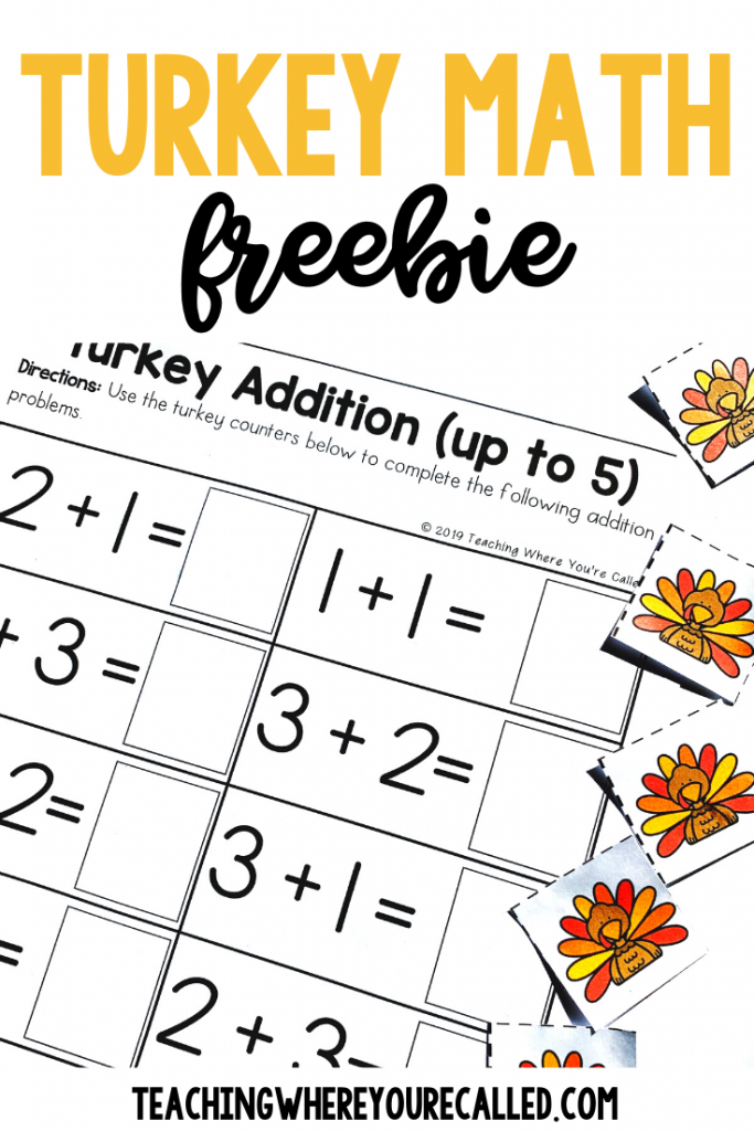 Get your kids working with numbers - and having some Thanksgiving themed fun - with this FREE set of Turkey Math printables! Practice counting numbers 1-10 as students count the number of feathers on these adorable turkeys. Then, use the turkey counters to practice addition facts up to five. These activities are perfect for preschool or kindergarten classrooms, and they make a perfect math center for November! #thanksgivingfreebies #turkeyfreebies #thanksgivingprintables