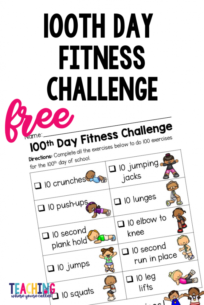 Celebrate the 100th day of school with these FREE printables! Get your students moving with this 100th Day Fitness Challenge. Then, have fun with this 100th Day of School Color by Sun Freebie! These fun and easy to use activities are perfect for PreK, kindergarten, first grade, or second grade. #100thdayofschool #100thdayfreebies